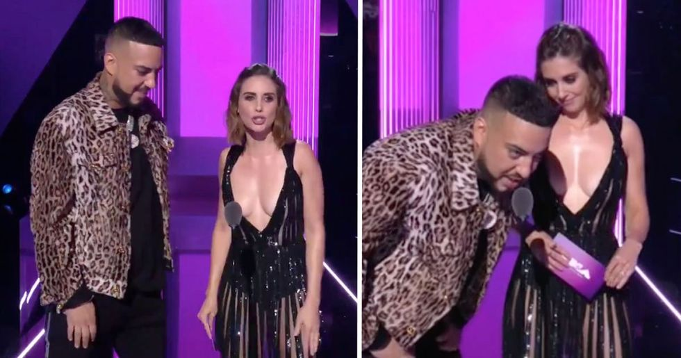 French Montana Accused of Staring at Alison Brie's Chest as They Present VMAs