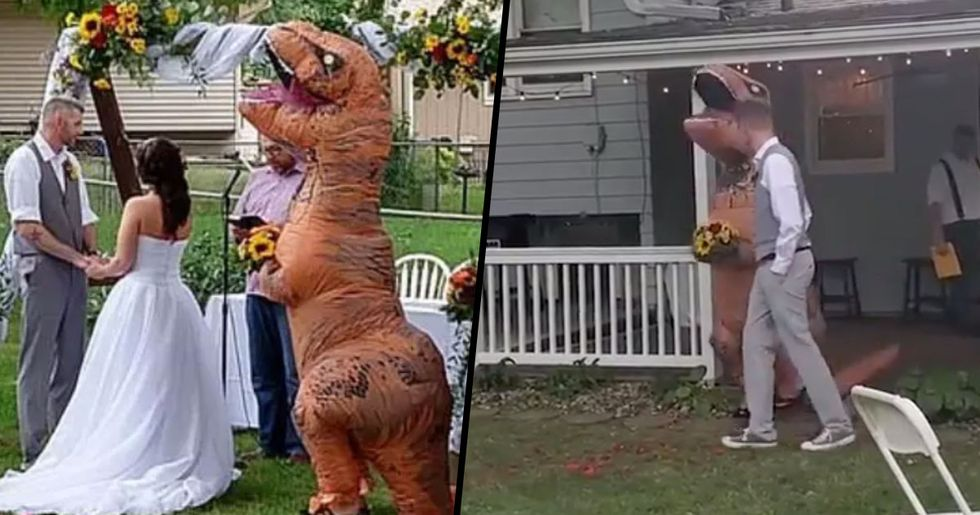 Maid of Honor Turns up to Sister's Wedding in T-Rex Costume