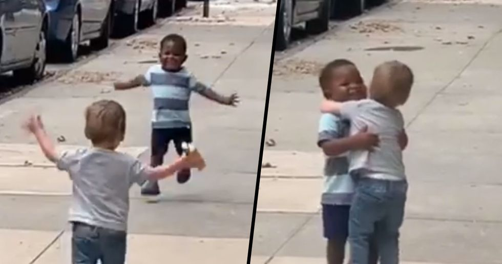 Two-Year-Old Best Friends Run to Hug Each Other after Two Days Apart