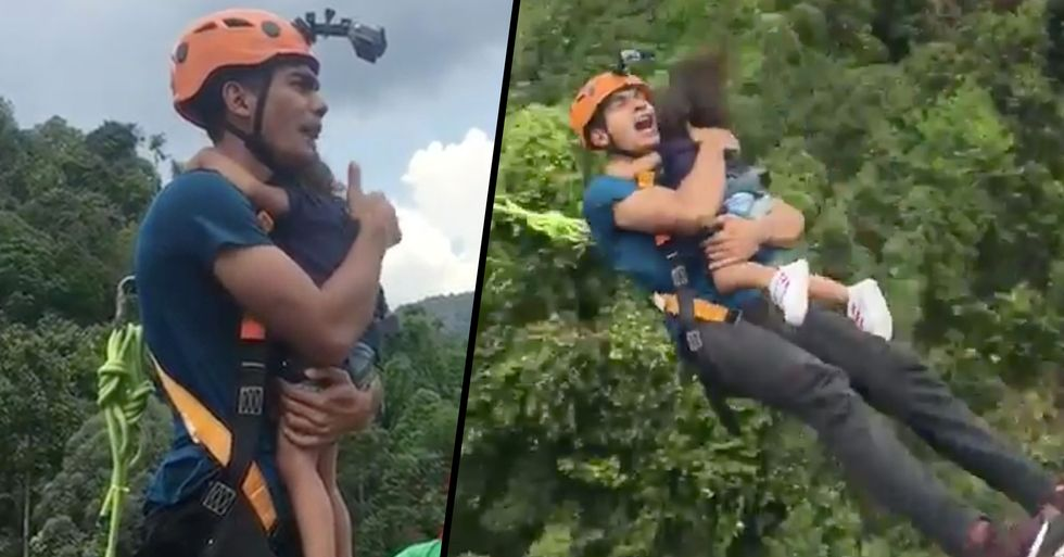 Dad Faces Backlash After Performing Bungee Jump Stunt With Toddler