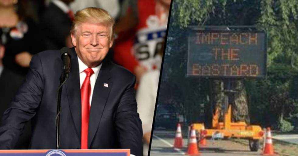 Road Sign Hacked to Display Message to Trump