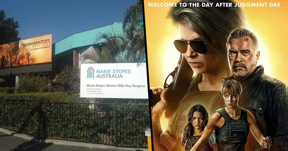 Outrage Over 'Terminator' Billboard Erected Directly Outside an Abortion Clinic