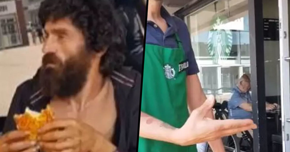 Starbucks Worker Tries to Throw out Homeless Man Eating Meal That Was Bought for Him