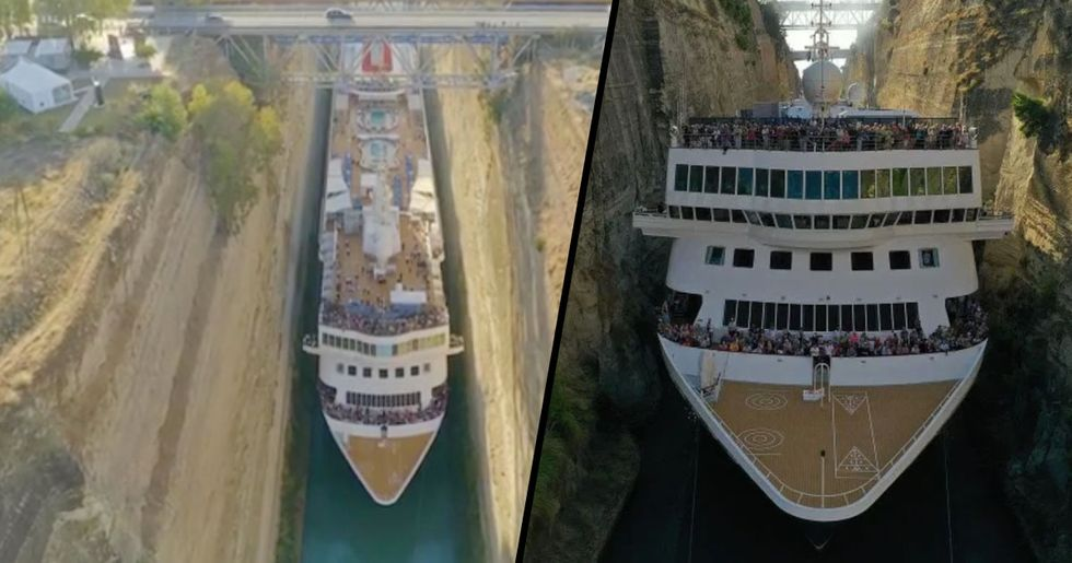 Cruise Ship Pictured Squeezing Through Canal With Just Inches to Spare