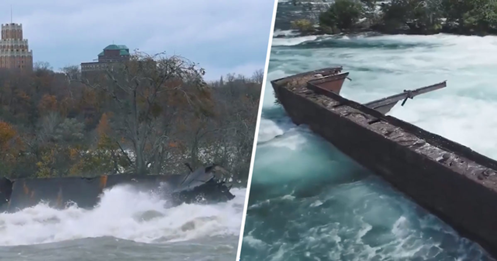 Ship Stuck Above Niagara Falls Creeps Towards Edge for First Time in 101 Years