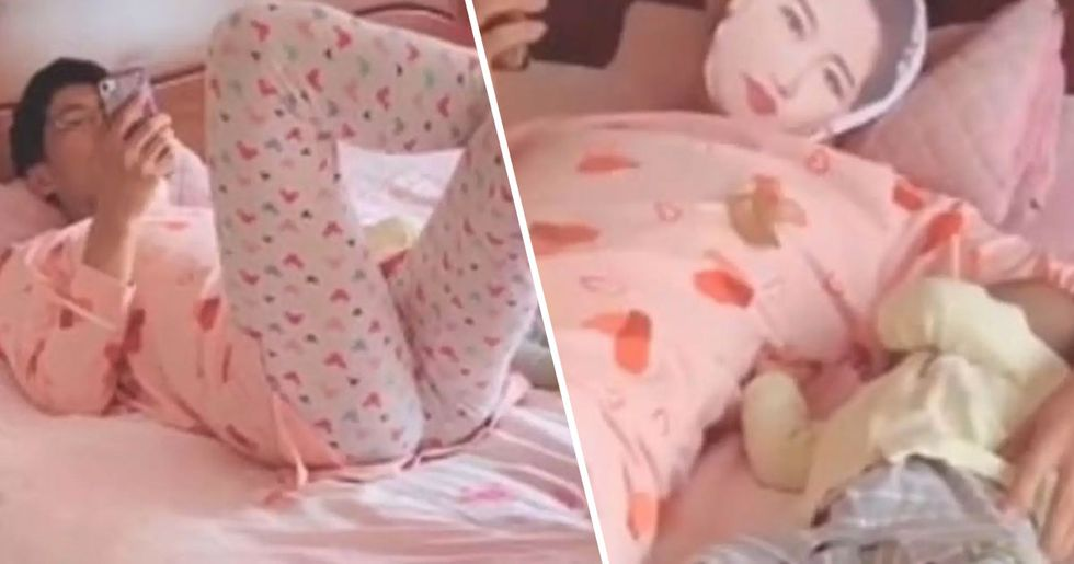 Dad Wears Wife's Pajamas and Mask to Stop Baby Crying