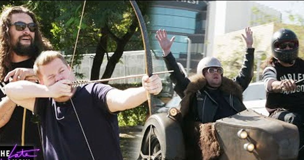 Jason Momoa Spends Manly Day With James Corden and it's Incredible
