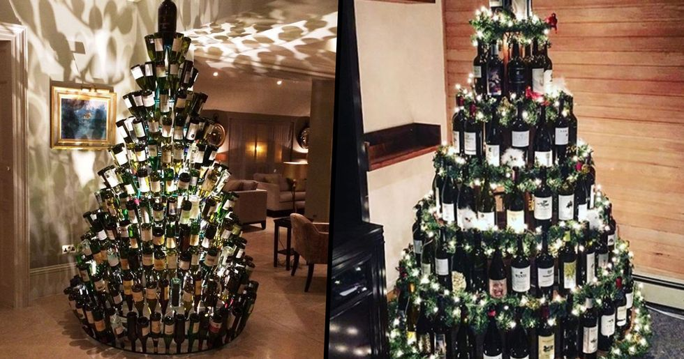 People Are Making Christmas Trees From Their Empty Wine Bottles