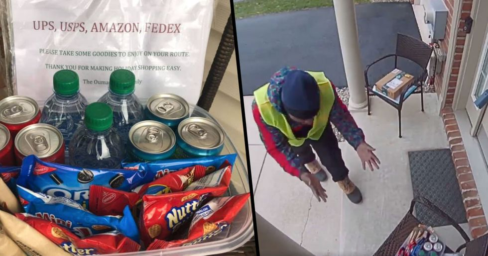An Amazon Prime Delivery Worker Had the Purest Reaction to Discovering Snacks Outside a Home