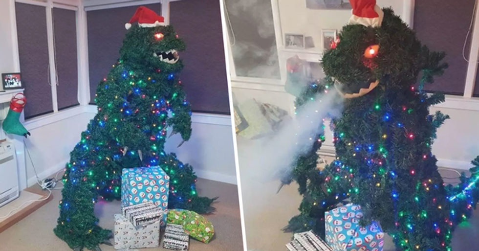 Man Creates Smoke-Breathing Godzilla Christmas Tree