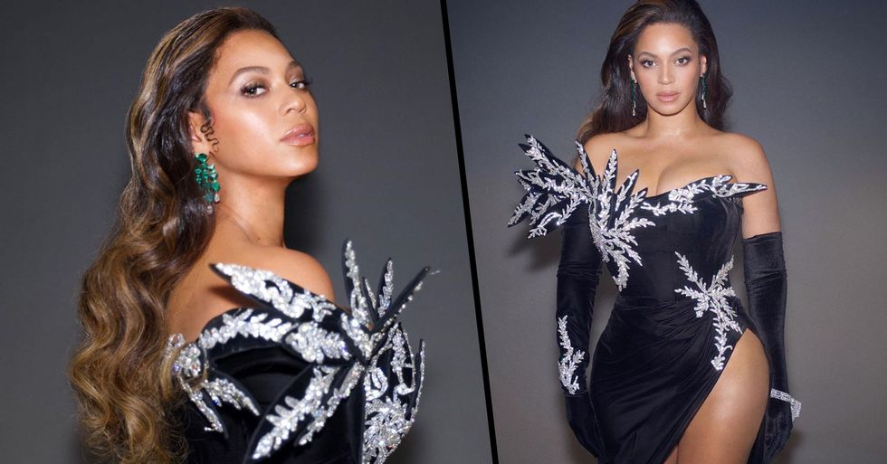 Beyoncé Stuns in Strapless Gown With Leg Slit Reaching up to Her Hip