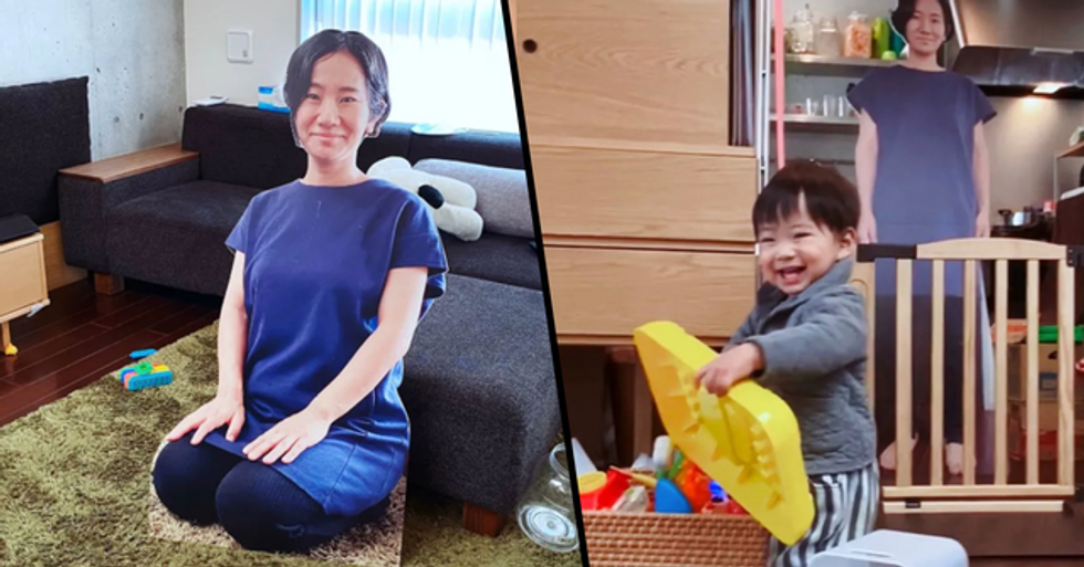 Mom Stops Her Kid From Crying When She Leaves the Room Using a Cardboard Cutout