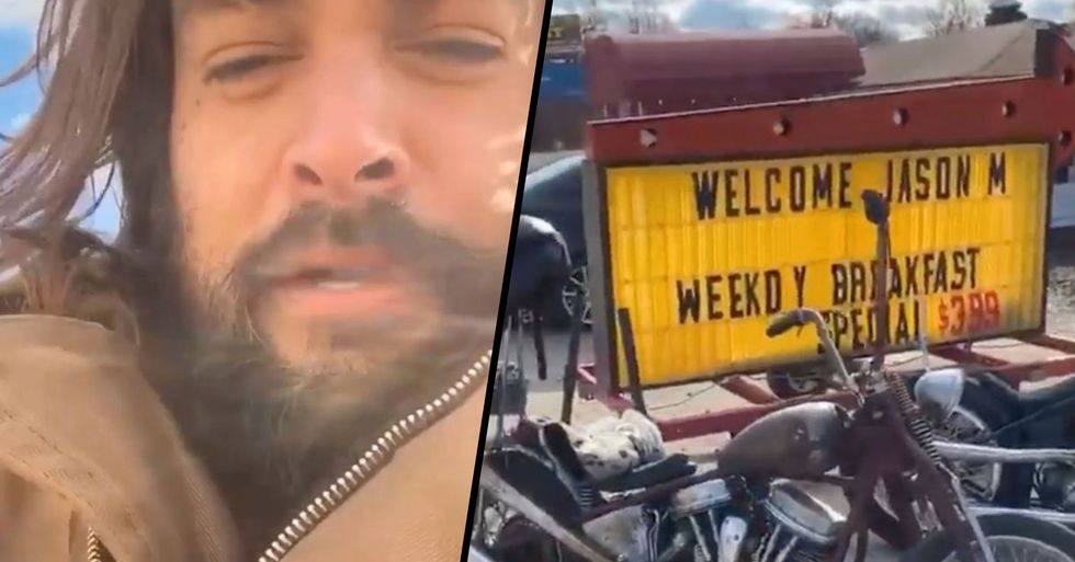 Jason Momoa Stops by Small Town Diner After Sign Grabs His Attention
