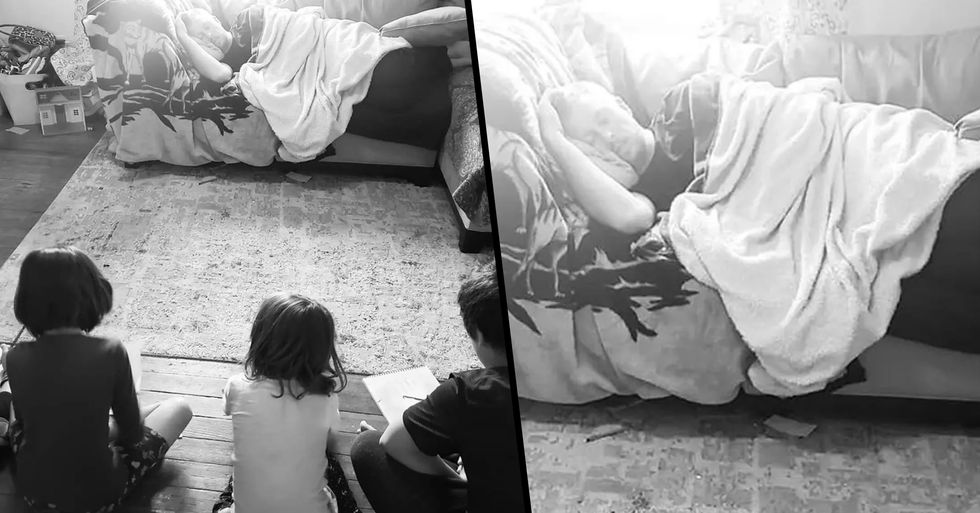 Dad Challenges Kids to Draw Him Sleeping so He Can Take a Nap