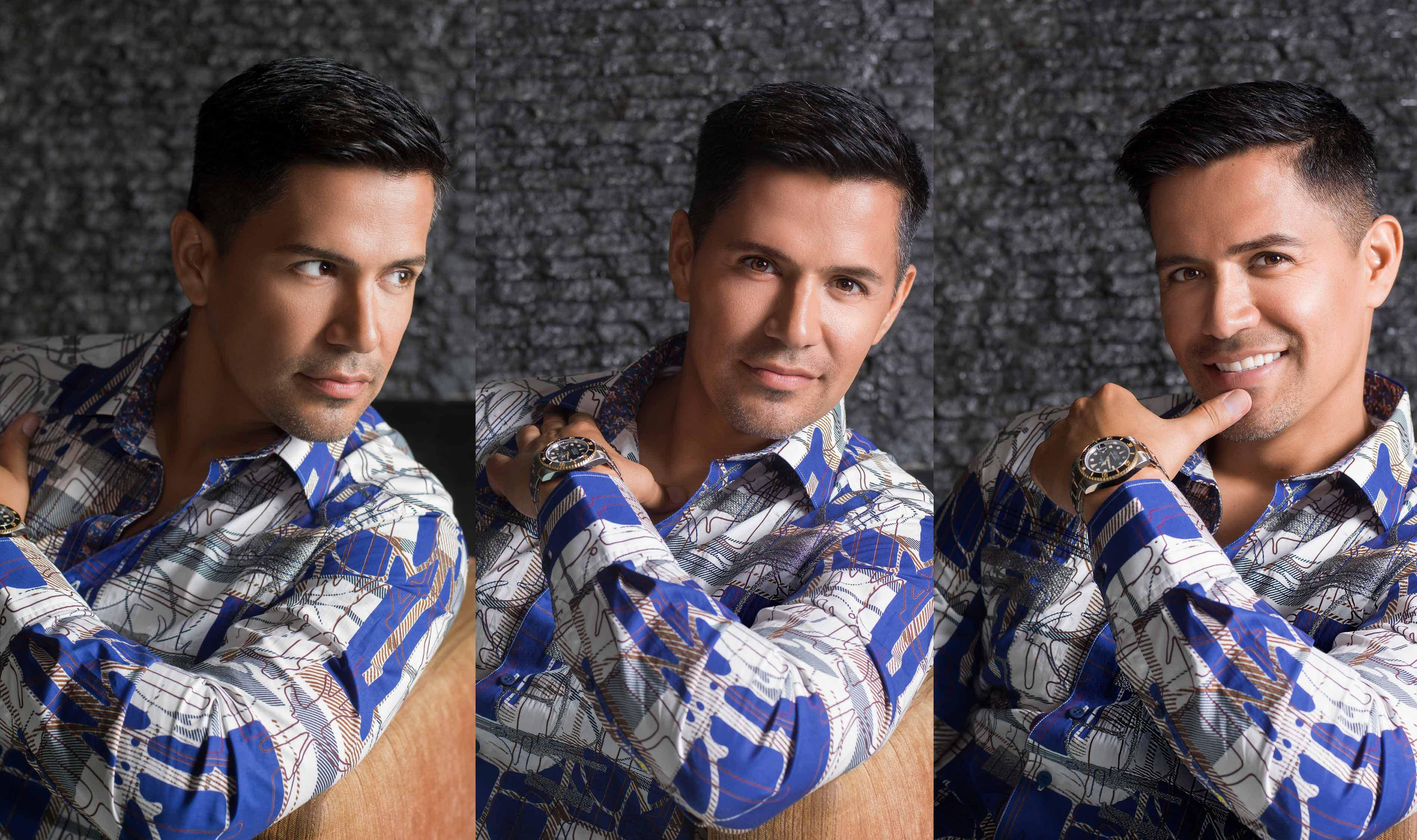 A triptych of Jay Hernandez in a blue print collared shirt