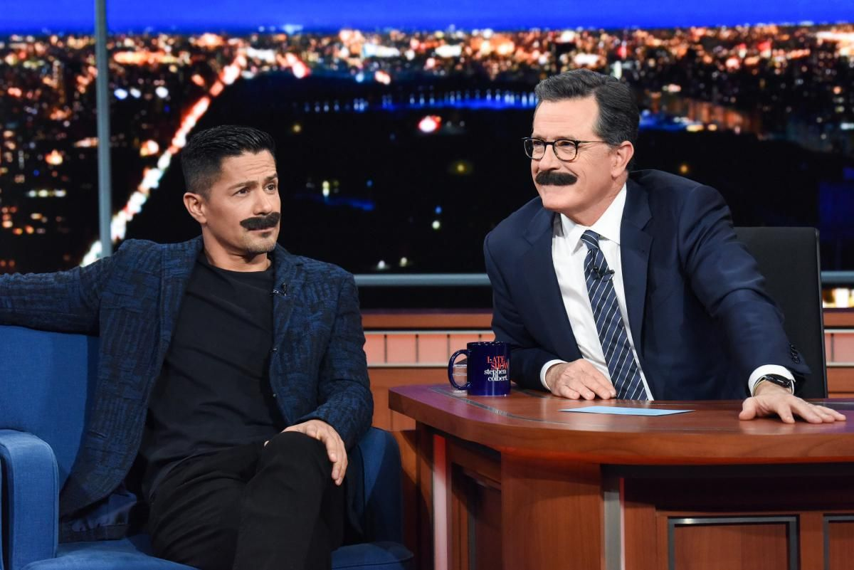 Jay Hernandez and Stephen Colbert sport matching Tom Selleck mustaches on The Late Show with Stephen Colbert