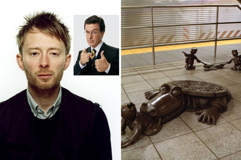 Eight Items or Less: Radiohead On the Colbert Report + Tom Otterness On Hold in SF