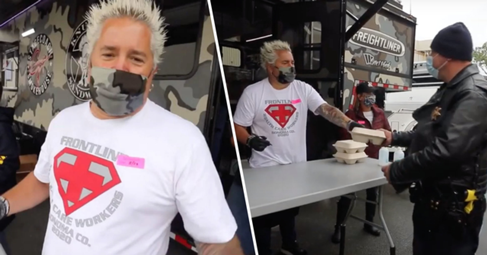 Guy Fieri Hands out Lunch to Coronavirus First Responders