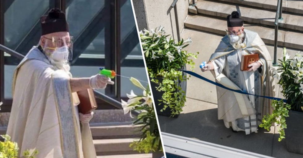 A Priest Squirted Holy Water at Churchgoers at a Socially-Distanced Service and He's Now a Meme