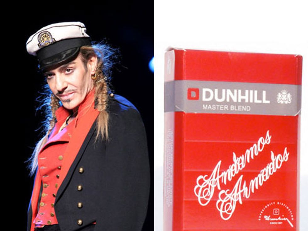 John Galliano Suspended from Dior + Scott Campbell Cigarettes In Today's Style Scraps
