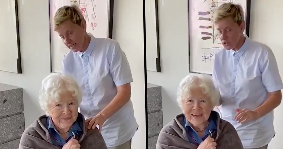 People Terrified by Ellen DeGeneres' 'Sick' Painting While She Cuts Her Mom's Hair