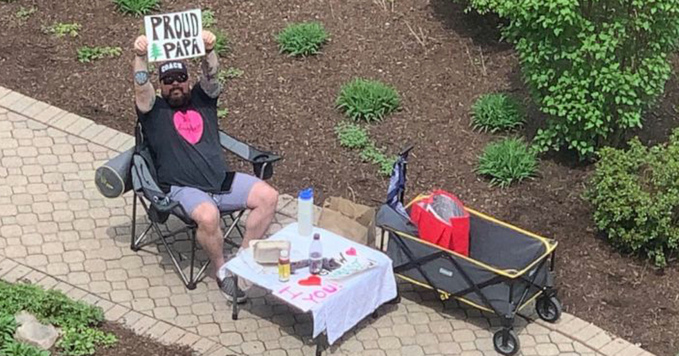 Husband Brings Date Night to Wife's Hospital Window as She Waits to Give Birth to Their Son