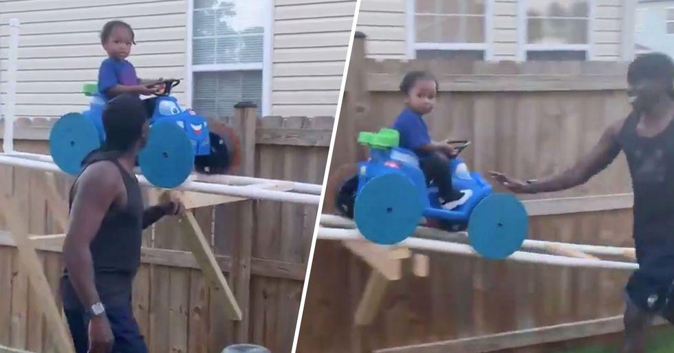 Grandpa Builds Grandson Homemade Quarantine Roller Coaster