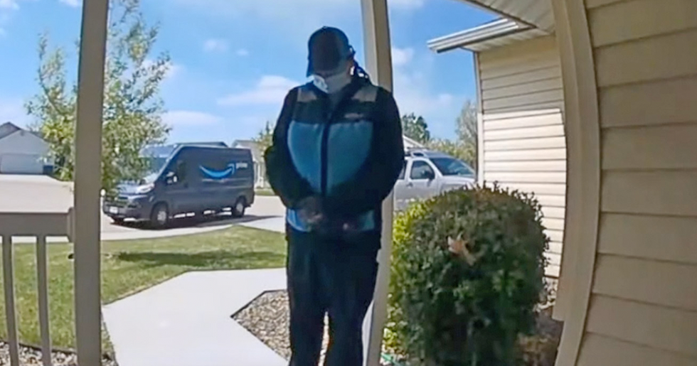 CCTV Captures Amazon Delivery Driver Outside Home Praying for Baby at Risk of Coronavirus