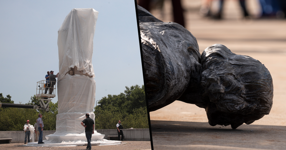 Statue of Christopher Columbus Removed From Chicago's Grant Park