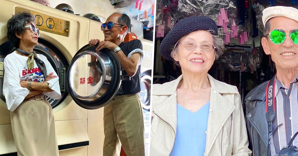 83-Year-Old and 84-Year-Old Model Other People's Forgotten Laundry