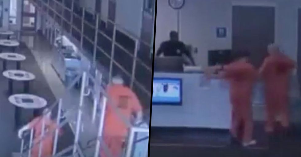 Inmates Filmed Rushing to Save Police Officer After He Suffers a Heart Attack