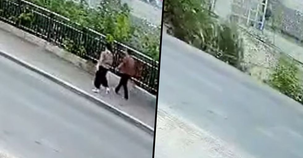 Moment Two People Are Swallowed Into Ground as Sidewalk Collapses Captured on Video