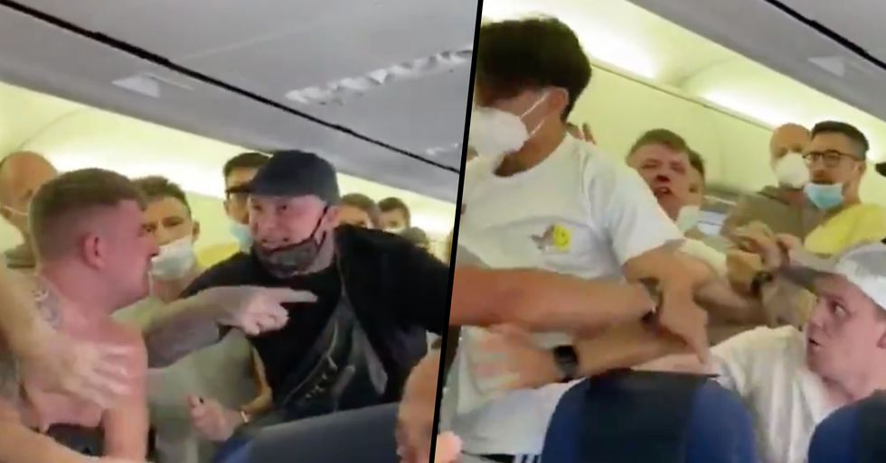 Huge Brawl Breaks Out on Plane After Drunken Passengers Refuse to Wear Masks