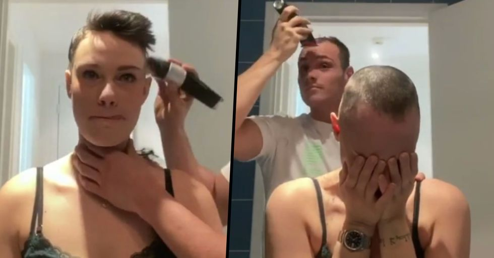 Boyfriend Shaves Girlfriend's Head Then Immediately Shaves His Own in Solidarity