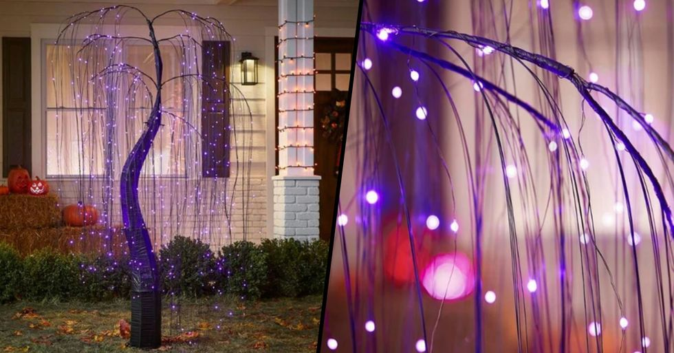 Home Depot Is Selling a 7 Foot Halloween Willow Tree That Glows Purple
