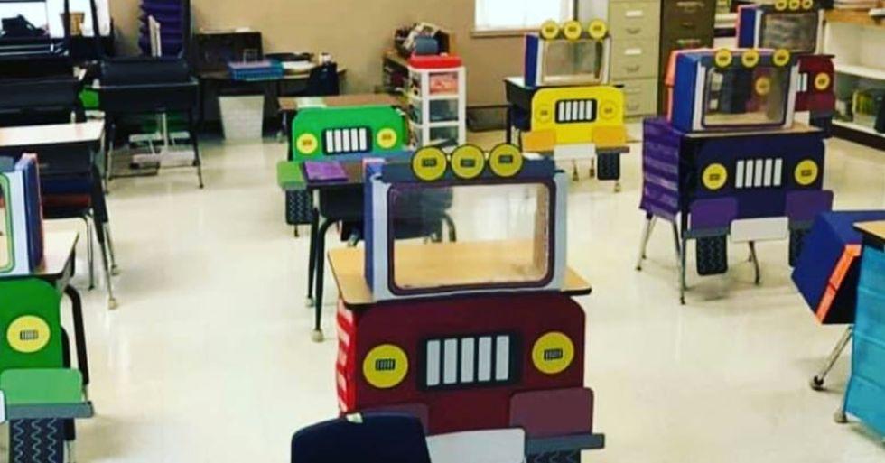 Teacher Transforms Desks Into Socially Distanced 'Trucks' to Make Classroom Fun Rather Than Scary