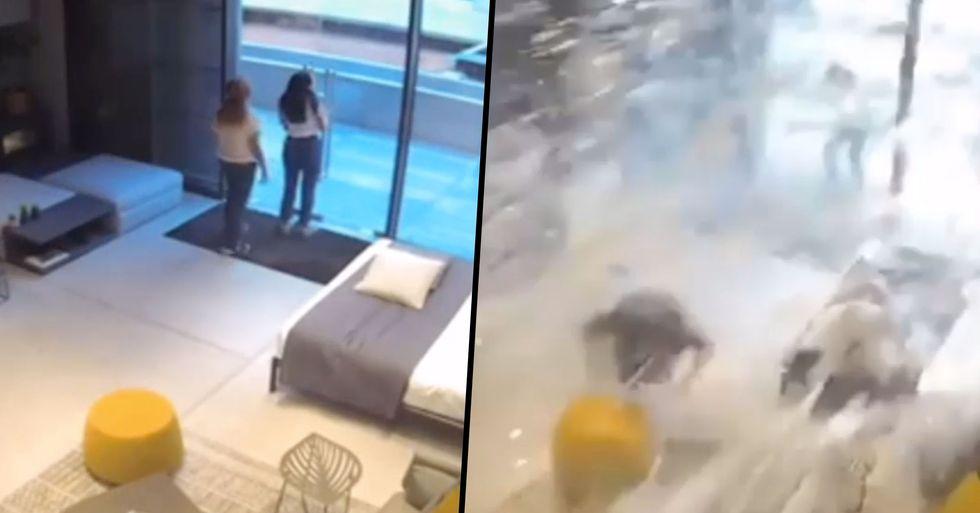 Insane Footage Shows 3 Women Being Hit by Devastating Shockwave of Beirut Explosion