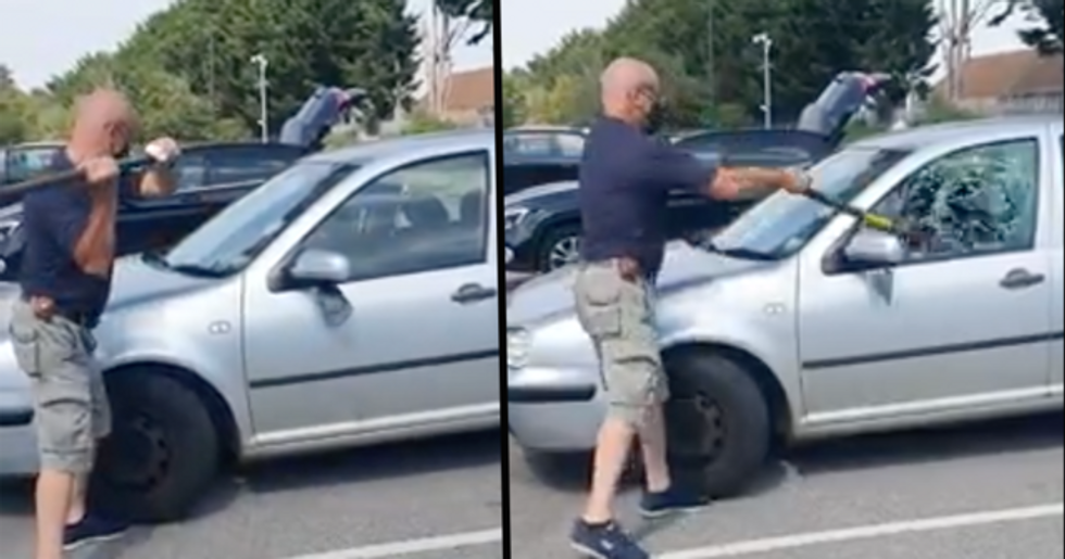 Man Saves Dog Left Locked in Car During Unbearable Heatwave by Smashing Window With a Sledge Hammer