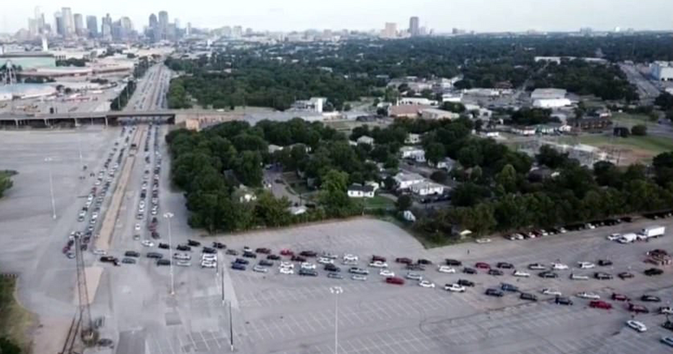 Thousands of Cars Form a Mile-Long Line at Dallas Food Bank