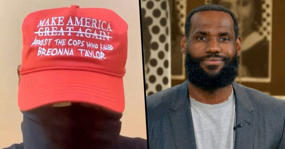 LeBron James Wears Fake MAGA Hat Supporting Breonna Taylor Before Playoff Game