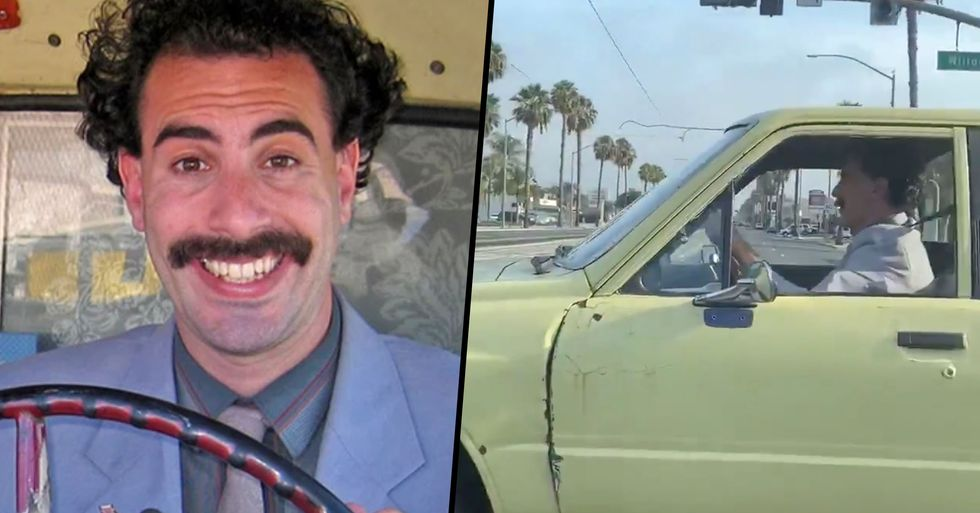 Sacha Baron Cohen Spotted Filming In Borat Costume