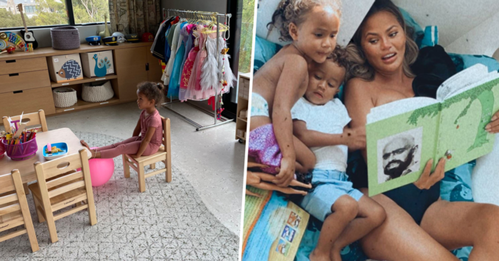 Chrissy Teigen Blasted After Sharing Photo of Her Kids' At-Home Learning Space
