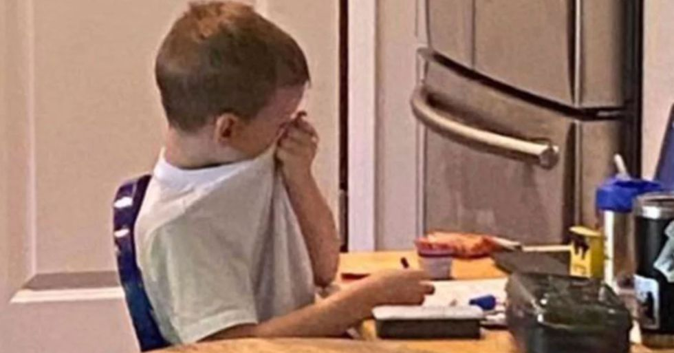 Georgia Mom Shares Picture of 5-Year-Old Son Crying in Frustration at Distanced Learning