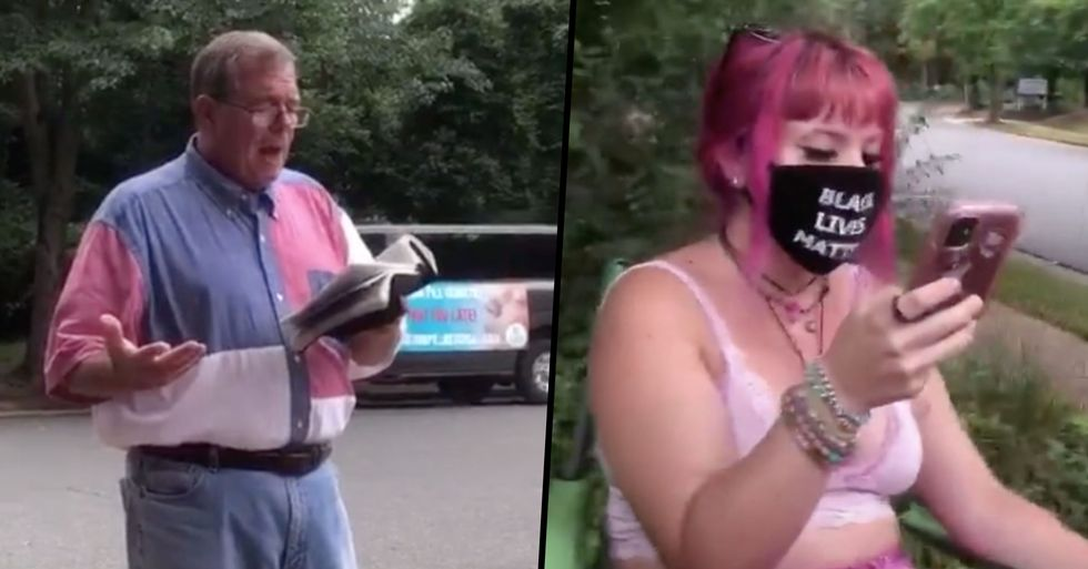 Man Reading the Bible Faces off Against Woman Reading the Lyrics To Cardi B's 'WAP'