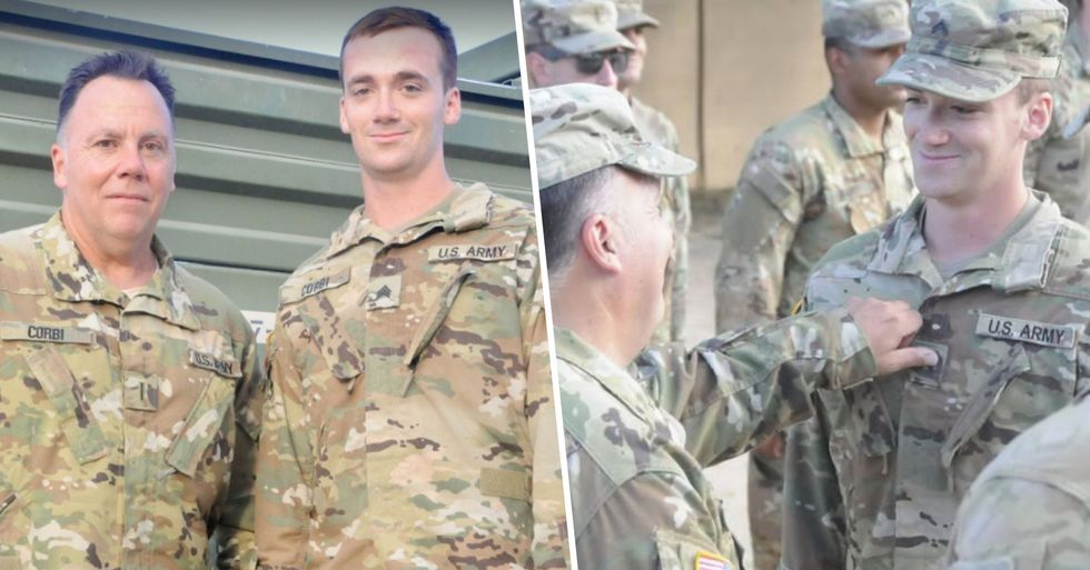 Deployed Father and Son Get Promoted Together and Pin Each Other Their New US Army Ranks