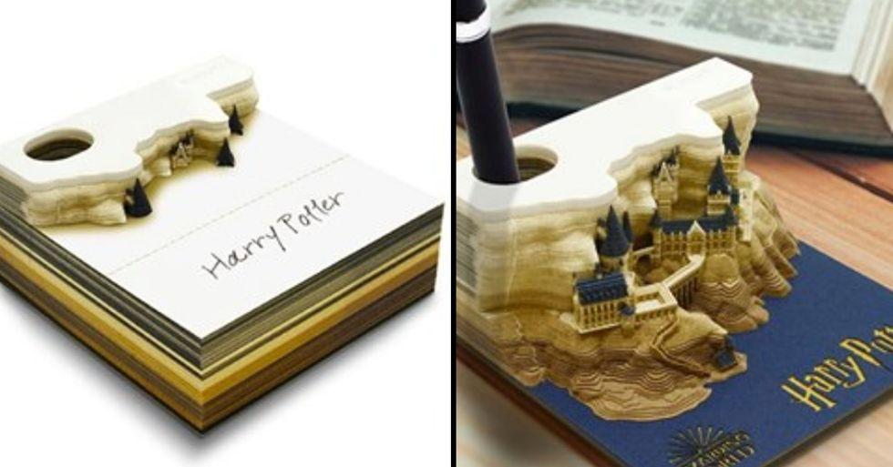 'Harry Potter' Memo Pad Slowly Reveals Hogwarts Castle When You Peel It