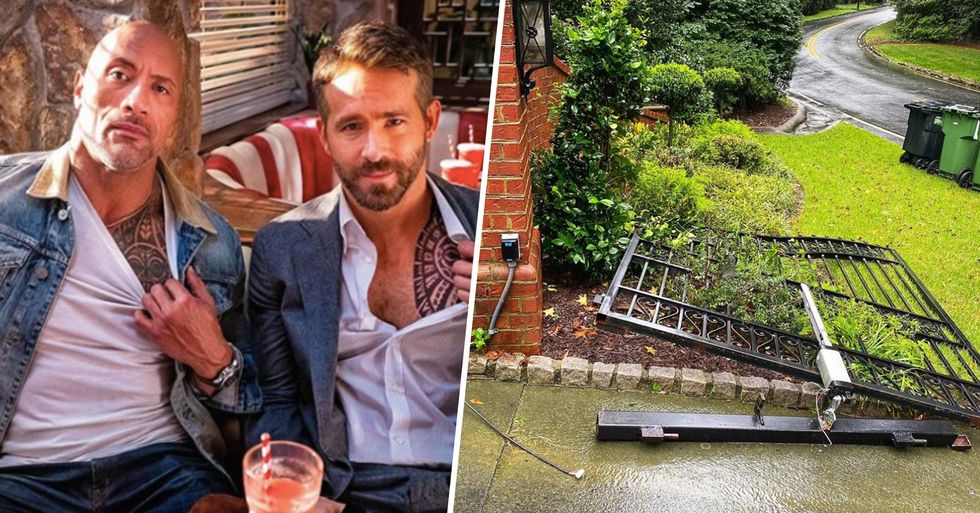 Ryan Reynolds Trolls the Rock After He Tears Down Gates With His Bare Hands