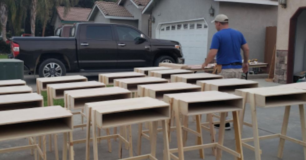 Woodworker Makes 35 Desks for Local Kids Who Are Learning From Home