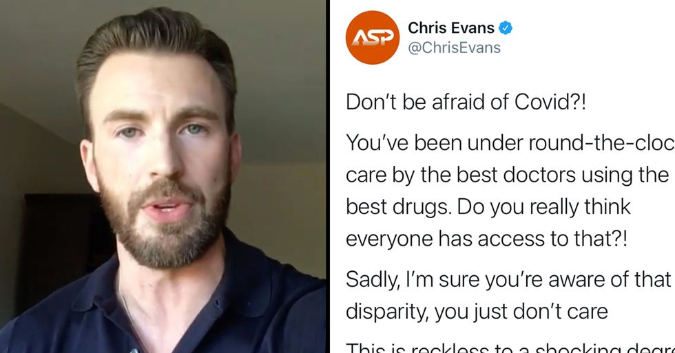 Chris Evans Just Slammed Donald Trump on Twitter for Telling People 'Don't Be Afraid Of COVID'