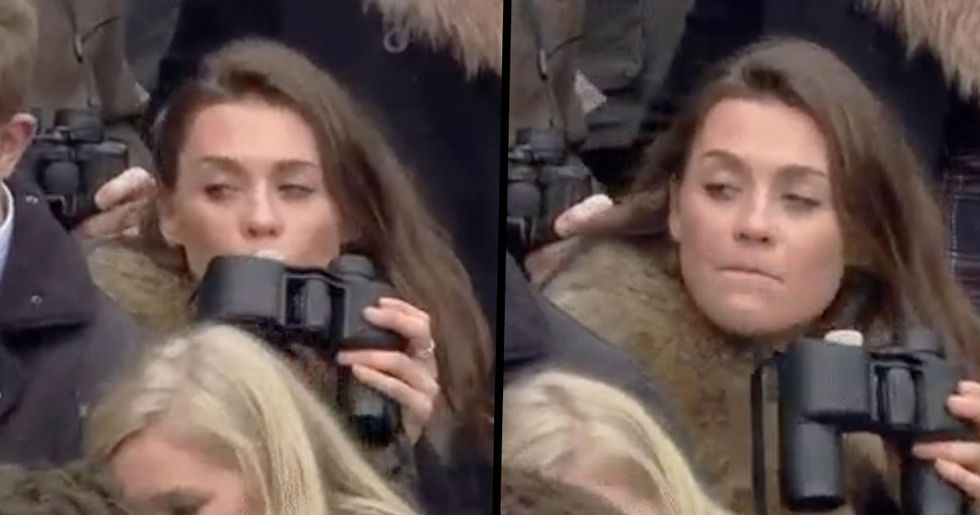 Woman Caught Drinking From Binoculars Hip Flask Is the Hero We Need